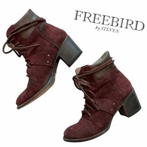Freebird by Steven Cage Leather Boot wine suede 9